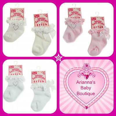BABY GIRLS PINK IVORY WHITE ANKLE SOCKS WITH HEART, BOW, FRILL, ROSE 0-12 month