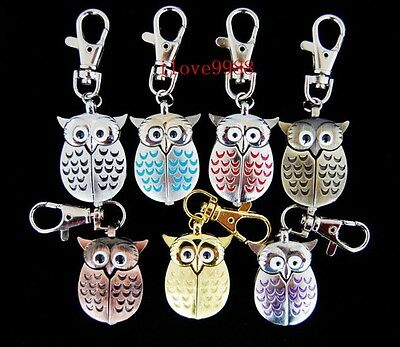 Wholesale gifts 10 pcs Owl Style Key Ring Pocket Watches (7 colours) USF50