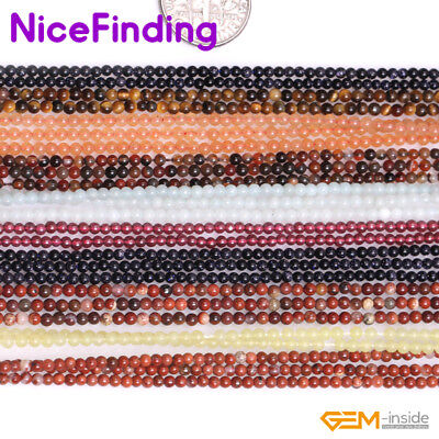 """2mm Natural Round Small Tiny Spacer Seed Loose Stone Beads Jewelry Making 15""""DIY"""