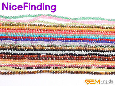 """2mm Natural Round Gemstone Small Tiny Spacer Seed Beads For Jewellery Making 15"""""""