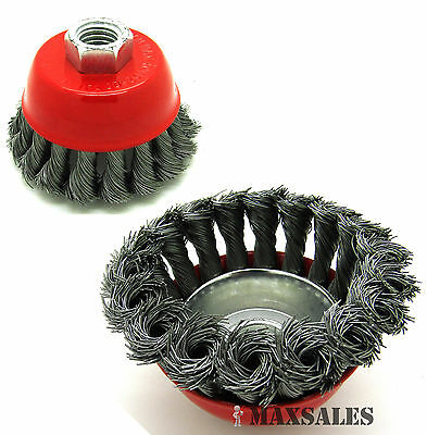 """(Qty2) 3"""" x 5/8"""" 11 NC FINE Knot Wire Cup Brush For Angle Grinders Knotted Wheel"""