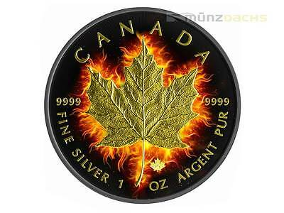 $5 Dollar Black Burning Fire Maple Leaf 2014 Ruthenium Gold 1 oz Silver Canada