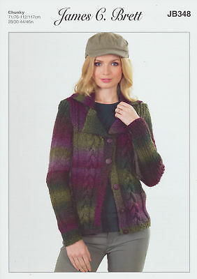 James Brett Womens Knitting Pattern Lakeland Chunky Cable Knit Jacket JB348