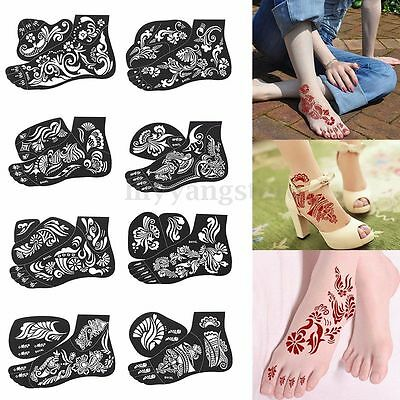 1Pcs India Henna Temporary Tattoo Stencils for Leg Feet Body Art Decal Sticker