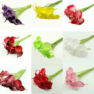 1/10X Real Touch Fake Latex Artificial Calla Lily Flower Arrangement Party Decor
