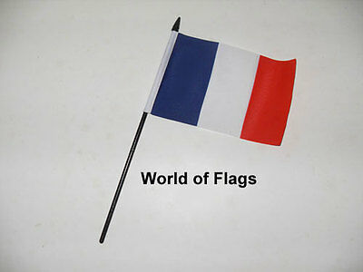 "FRANCE SMALL HAND WAVING FLAG 6"" x 4"" French Crafts Table Desk Top Display"