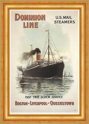 Dominion Line US Mail Steamers Boston Liverpool Queenstown Plakate A3 281