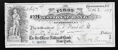 1889 First National Bank Of Cooperstown Ny Cancelled Check #26570