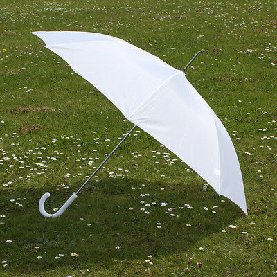 Large White Plastic Crook Handle Wedding Umbrella - Bride Automatic Job Lot BN