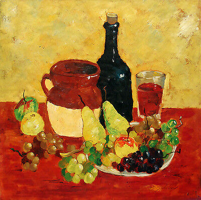 """Colorful Oil Painting of a Breakfast Still Life With Fruits and Wine 24""""x24"""""""