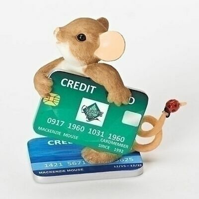 "Charming Tails Mouse Figure CREDIT ""CHARGE"" Card LadyBug #19384 NIB"