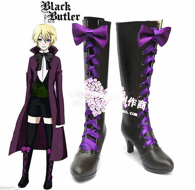 Black Butler II 2 Alois Trancy Anime Cosplay Purple Shoes Boots With Bowknot
