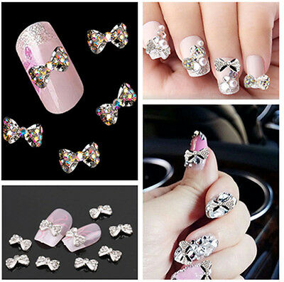 10Pcs Chic 3D Diy Crystal Bowknot Bow Nail Art Glitters Decoration Manicure Tips