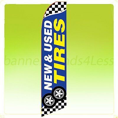 Feather Swooper Flutter Banner Sign 11.5' Flag- NEW & USED TIRES checkered bb