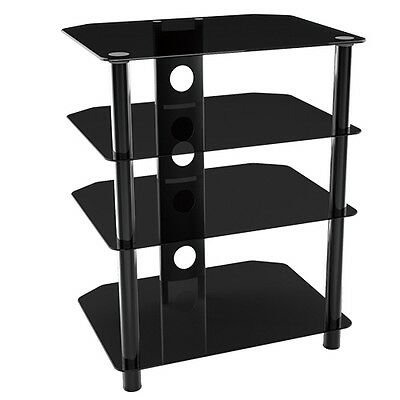 G-VO Black Tempered Glass Stand with 4 shelves for AV and Hi-Fi Equipment 40KG