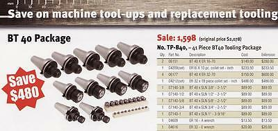 Techniks CNC BT 40 Tooling Package 41 Pc Collet Chucks + Collets