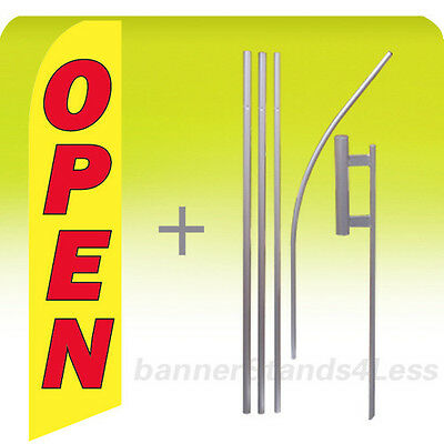 Feather Swooper Flutter Tall Banner Sign Flag 15' Kit - OPEN yb