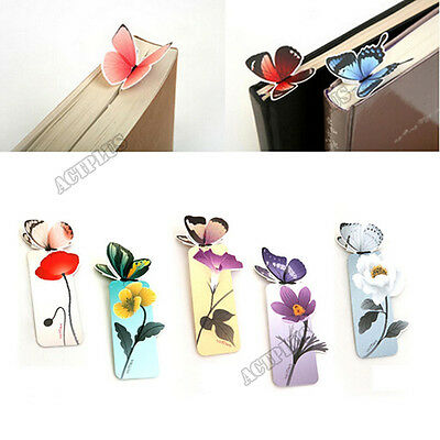 2x Reading Essential Cute 3D Butterfly Bookmark Note Pad Memo Stationery Gift Ef