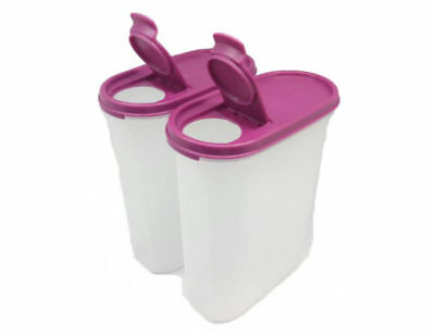 Tupperware 2X Modular Mates Oval #4 Pour-All 2.3L Flip Top Purple Seal Container