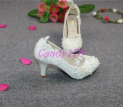 New Women Wedding Pearl Lace Flower Party Bridal Bridesmaid Flat High Heel shoes
