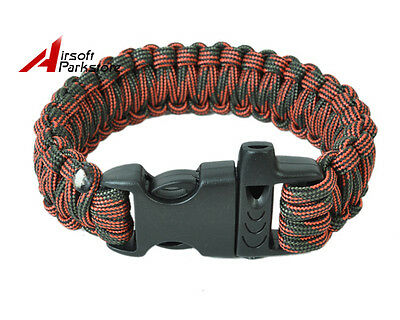 Outdoor Paracord Survival Bracelet Parachute Emergency Strap Whistle CoffeeGreen