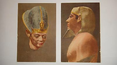 Rare Two Vtg 1930' Unposted Egyptian Postcards Ancient Kings Statues Unposted