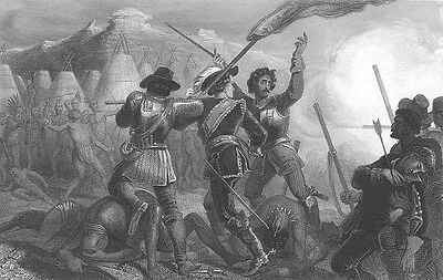1637 INDIAN TRIBE PEQUOT WAR PURITAN PILGRIM COLONISTS, 1855 Art Print Engraving