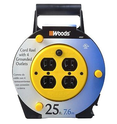 Woods 4907 25-Foot Extension Cord Reel with 4-Outlets and Circuit Breaker