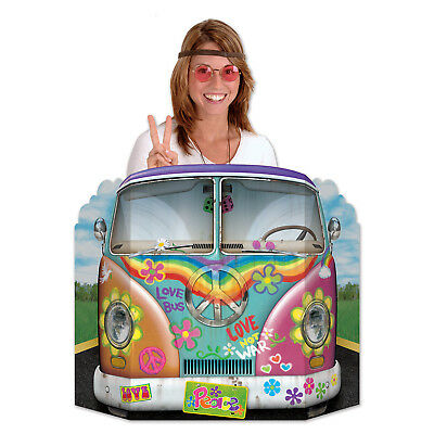 GROOVY 60's Hippie BUS Peace Love PHOTO PROP Birthday Party Decoration