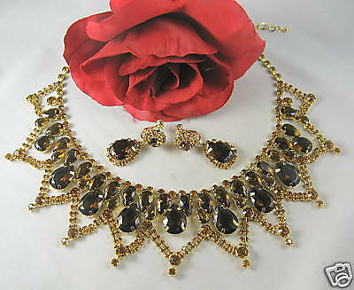 Amber Rhinestone Demi Parure Necklace Set CAT RESCUE