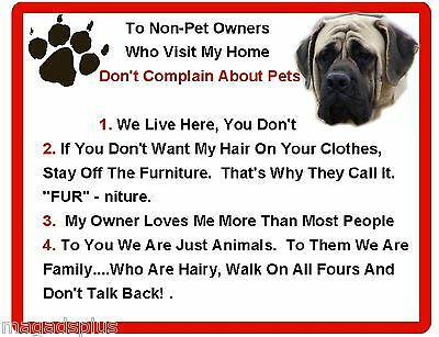 Funny Dog English Mastiff House Rules Refrigerator / Magnet Gift Card Idea