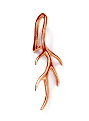 1 Sterling Silver 925 Veined Leaf Pendant Pinch Bail, 24 Mm, Rose Gold Plated