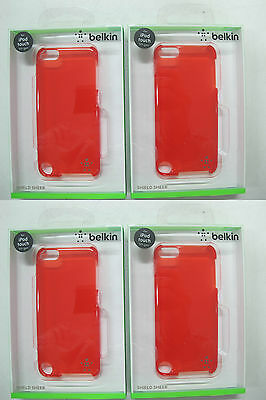 "100 x QUALITY BELKIN "" Red"" Shield Sheer Case IPod 5th gen F8W144qeC03 [07]"