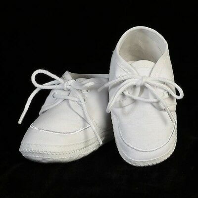 Boys Christening Cotton Shoes Booties White Soft Sole Infant Toddler Size 00-5