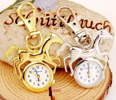 Bulk lots 10 pcs New Horse style Key Ring Pocket Watches gifts FK28