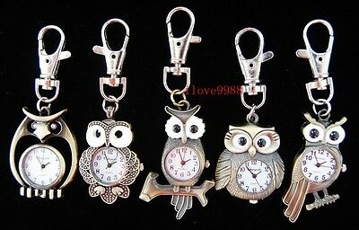 Wholesale 10 pcs Owl mixed Key Ring Pocket Watches boys girls (5 styles) USF71