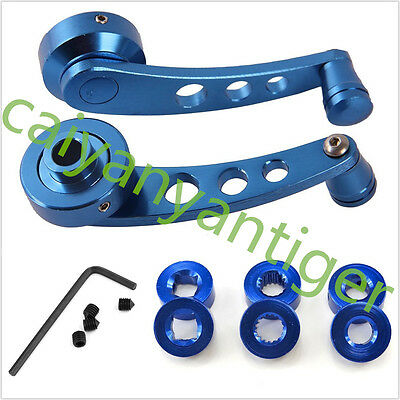1 Pair Universal Car Window Winder Kit Crank Door Glass Handle Aluminium Blue