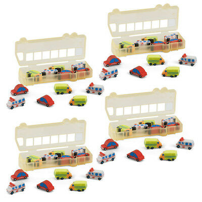 12Pcs Rubber Pencil Eraser Set Stationery Kid Children Novelty Car Lorry Truck