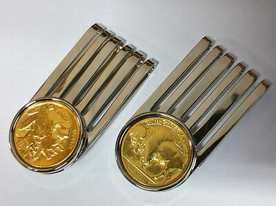 Geldklammer Geldclip Money Clip USA Buffalo Nickel Indianer / Bison - Vergoldet