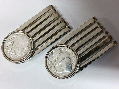 Geldklammer Geldclip Money Clip USA Buffalo Nickel Indianer / Bison - Versilbert