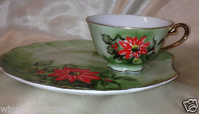 Lefton Red Poinsettia Snack Plate & Cup Set 8 Oz Scalloped Gold Trim Christmas