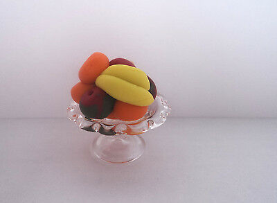 Dolls House Miniature: Hand made Glass Fruit Stand with Fruit    12th scale