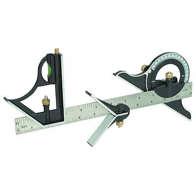 "12"" 300mm Combination Square & Protractor Level Adjustable Measure Measuring Set"