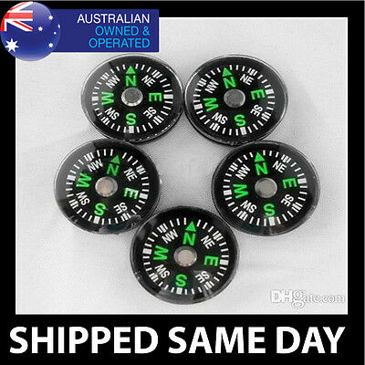 5 X MINI BUTTON COMPASS Hiking Camping Survival Tactical Gear