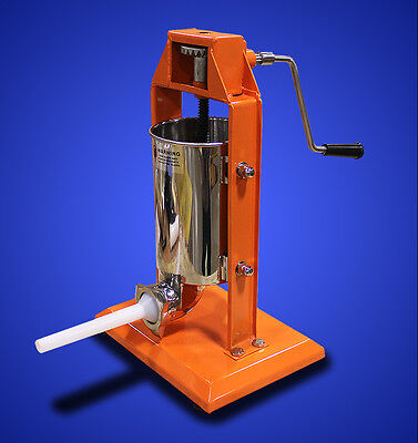 New XL MTN Commercial 5L Stainless Steel Meat Sausage Stuffer Tank - Orange
