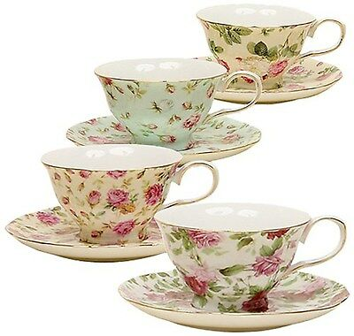 Gracie China Rose Chintz 8-Ounce Porcelain Tea Cup and Saucer Set of 4 New