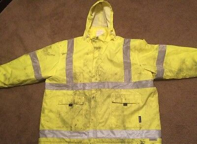 Condor Hi-Vis Yellow Insulated Rain Jacket With Hood Size 3XL