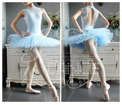 NWT Women Girls 7 Layers Organdy Dance Skirt Ballet Costume Tutu with Panty Blue