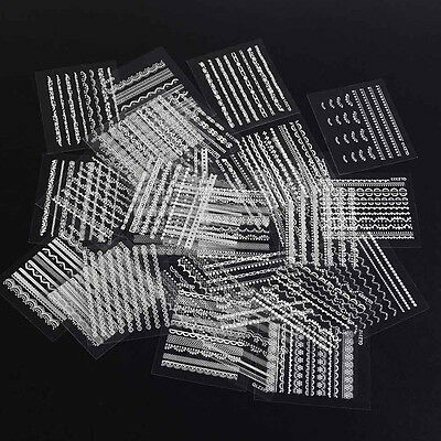 30 Sheet 3D Lace Design Nail Art Tips Stickers DIY Manicure Decal Decoration