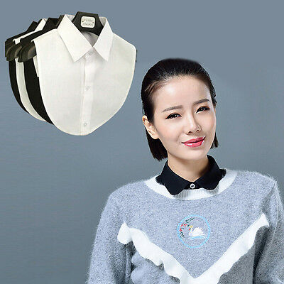 Simple Unisex Women Peter Pan Detachable Lapel Shirt Fake False Collar